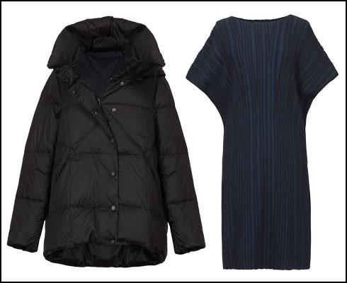 שמלת פליסה, 690 שקל; מעיל פוך, 990 שקל  (צילום: עדי גלעד)