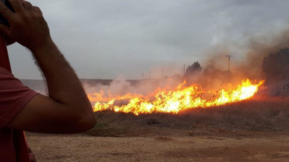 Fire in the Gaza border region