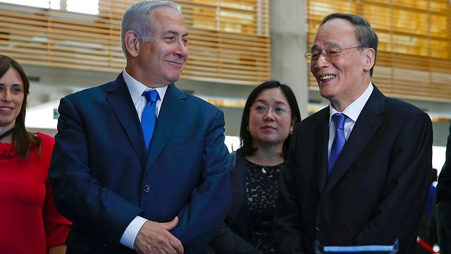 בנימין נתניהו פגישה עם סגן נשיא סין וואנג צ'ישאן בירושלים (צילום: AFP)