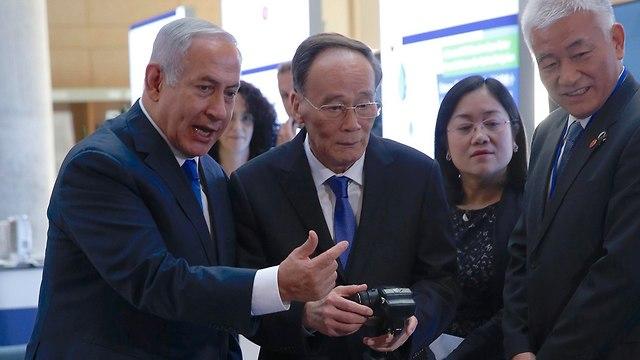 בנימין נתניהו פגישה עם סגן נשיא סין וואנג צ'ישאן בירושלים (צילום: EPA)