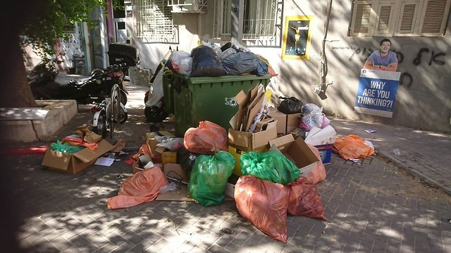 ערימות של אשפה חוסמות את רחוב כפר הגלעדי, בשכונת פלורנטין (צילום: