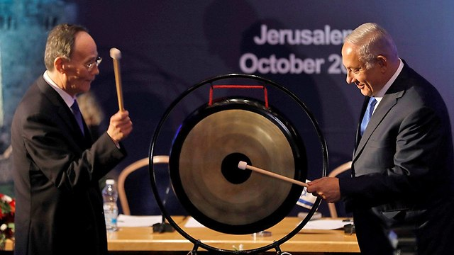 בנימין נתניהו עם סגן נשיא סין וואנג צ'ישאן בירושלים (צילום: רויטרס)