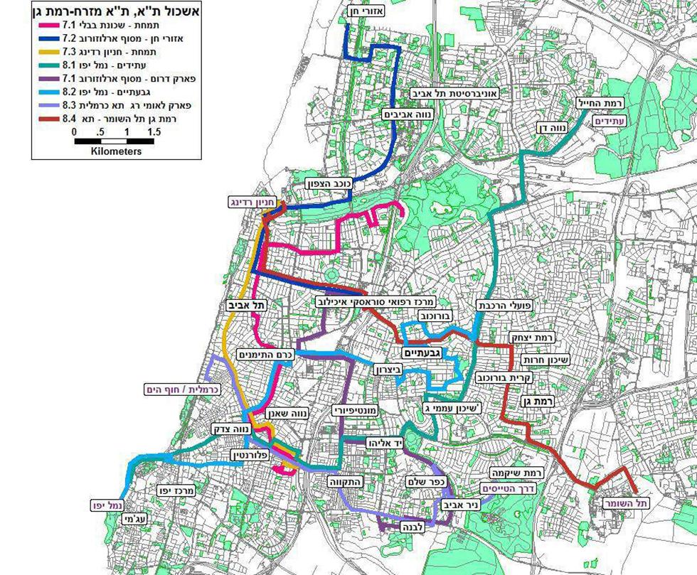 מפה מהפכת תחבורה ציבורית בתל אביב ()