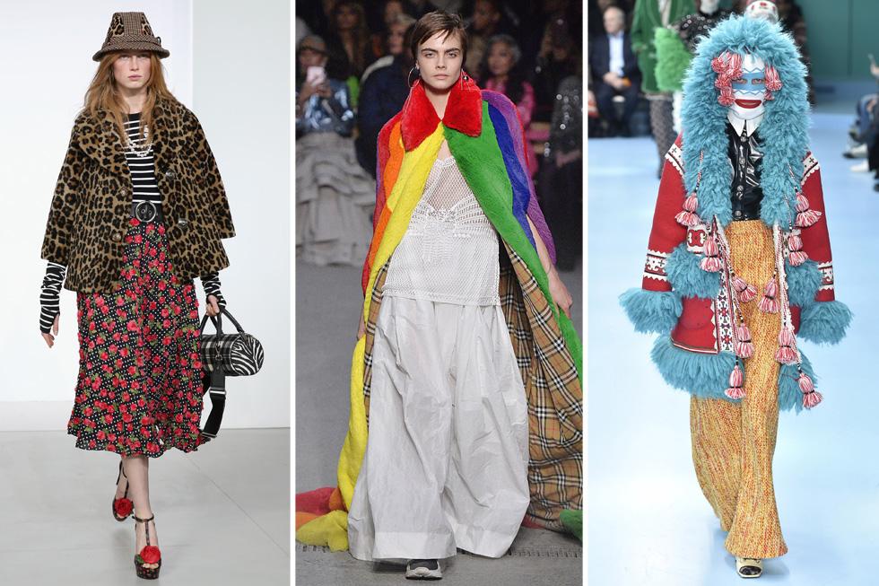 פרווה –אאוט; ערכים – אין. תחליפים סינתטיים בתצוגות האופנה של גוצ'י, ברברי ומייקל קורס (צילום: JP Yim/GettyimagesIL)