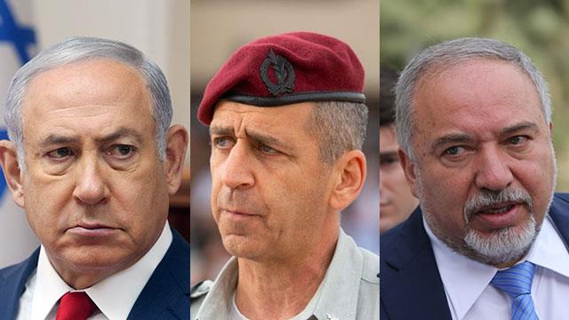 Netanyahu;  Kochavi;  Lieberman (Photo: AP, porte-parole des FDI)
