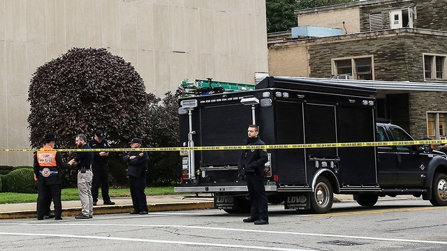 The scene of the attack at the Tree of Life synagogue in Pittsburgh  (Photo: Reuters)