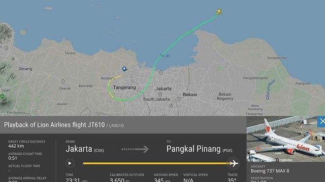 מסלול מטוס שנעלם זמן קצר לאחר המראתו באינדונזיה (צילום: flightradar24)