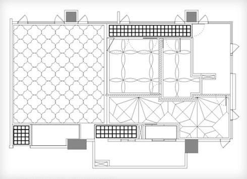 דוגמת הרצפה משתנה מחדר לחדר, ומגדירה את המרחב (שרטוט: PhoebeSaysWow Architects Ltd)