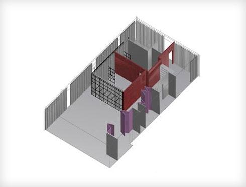 החציצות השונות בדירה. באדום קיר הלבנים (שרטוט: PhoebeSaysWow Architects Ltd)