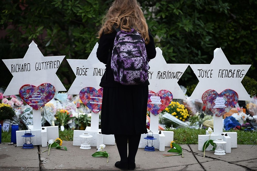 Flowers outside the Pittsburgh Synagogue (Photo: AFP)