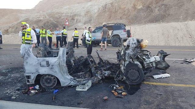 תאונת דרכים כביש 90 ליד ים המלח משפחה נהרגה (צילום: חיים הורנשטיין  )