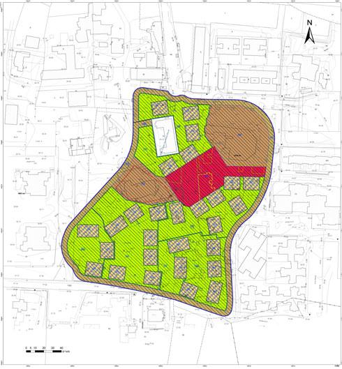 הצד הדרום-מערבי הוא הבניינים שאוכלסו בשלב א' (תוכנית: מתוך bartech-net.co.il)