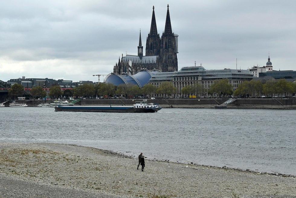 בצורת ב גרמניה מפלס המים בשפל נהר ה ריין (צילום: AP)