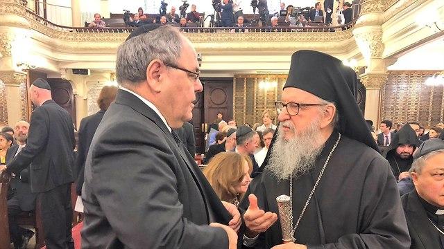 דיין, שגריר ישראל בניו יורק בכנס לזכר הנרצחים בבית הכנסת