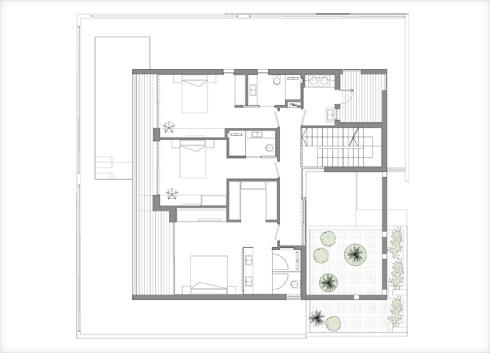 תוכנית הקומה העליונה  (תוכנית: שחר רוזנפלד אדריכלים)
