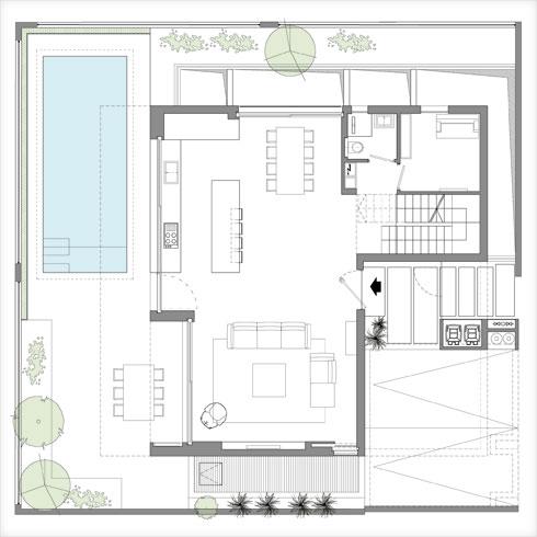 תוכנית קומת הקרקע (תוכנית: שחר רוזנפלד אדריכלים)