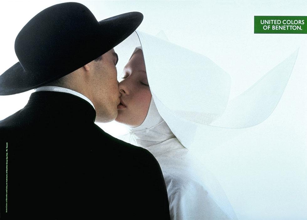 כשנזירה וכומר מתנשקים. קמפיין של בנטון משנת 1992