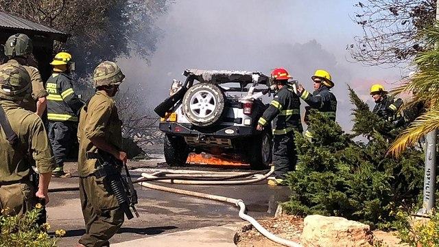 Burning vehicle of Sdot Negev security officer