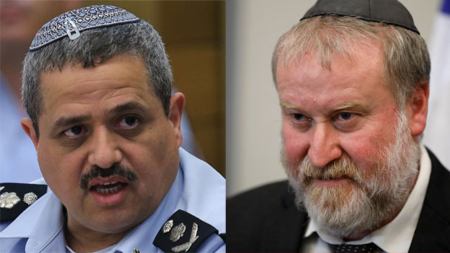 Alsheikh (L) and Mandelblit  (Photo: Alex Kolomoisky/EPA)