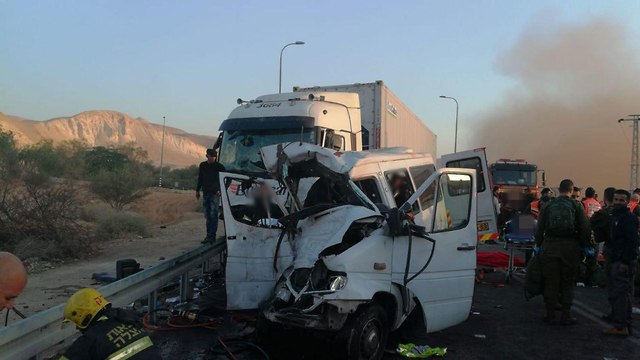 The accident in the Jordan Rift Valley. (Photo:  Israel Fire and Rescue Services spoksman)