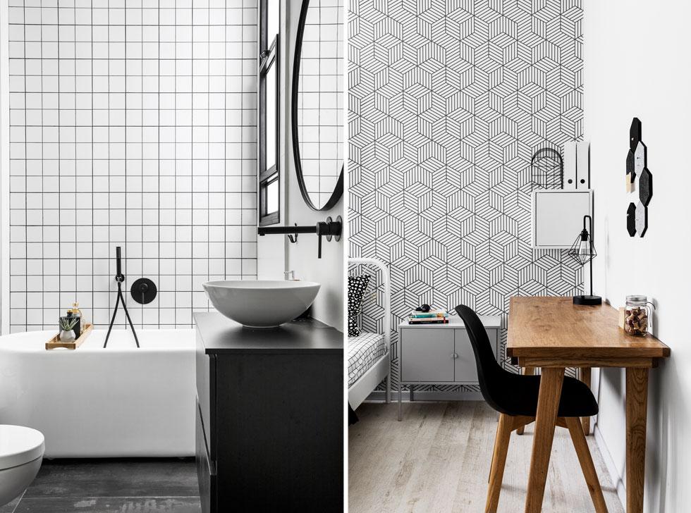 דוגמאות גאומטריות חוזרות על הקירות לא רק בחדר ילדים (מימין), אלא גם בחדר הרחצה (משמאל) עם אריחים לבנים, מודגשים ברובה שחורה (צילום: איתי בנית)