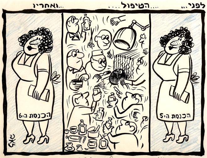 זאב על השינוי בין הכנסת החמישית לשישית, שבה זכתה גח''ל ב-26 מנדטים (קריקטורה: בית המכירות הפומביות קדם)