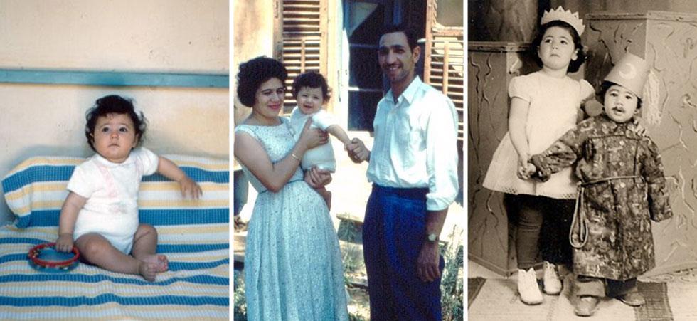 מימין: עם אחיה אילן, עם הוריה ליד הצריף שבו נולדה ובגיל 10 חודשים (צילום: אלבום פרטי)