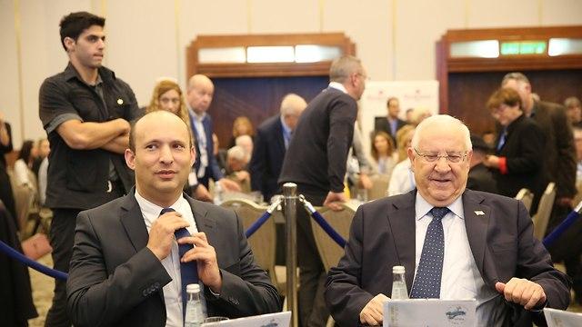 ריבלין ובנט בכנס להשכלה גבוהה (צילום: אלכס קולומויסקי)