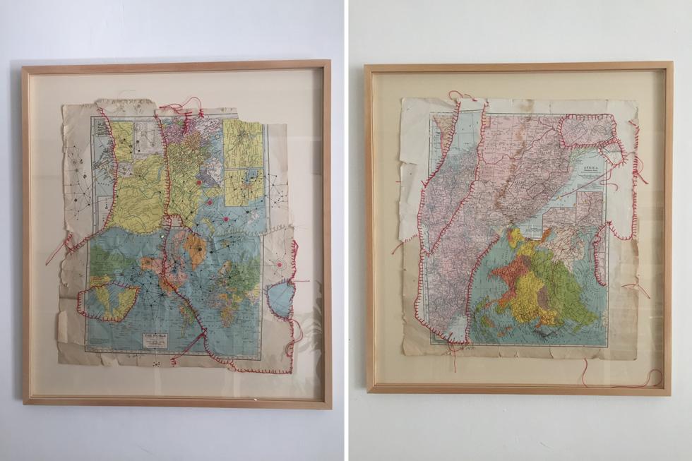 קורעת מפות ומחברת אותן מחדש בתפירה (צילום: רוני מרו)