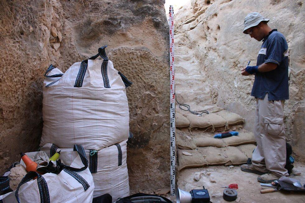 העבודות בבור (צילום: דוידה אייזנברג - דגן, רשות העתיקות)