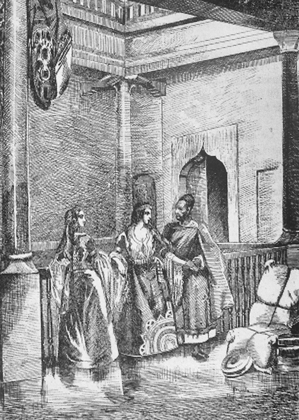 בית יהודי באסואירה, ראשית המאה ה-19 (תחריט: דרונדו)