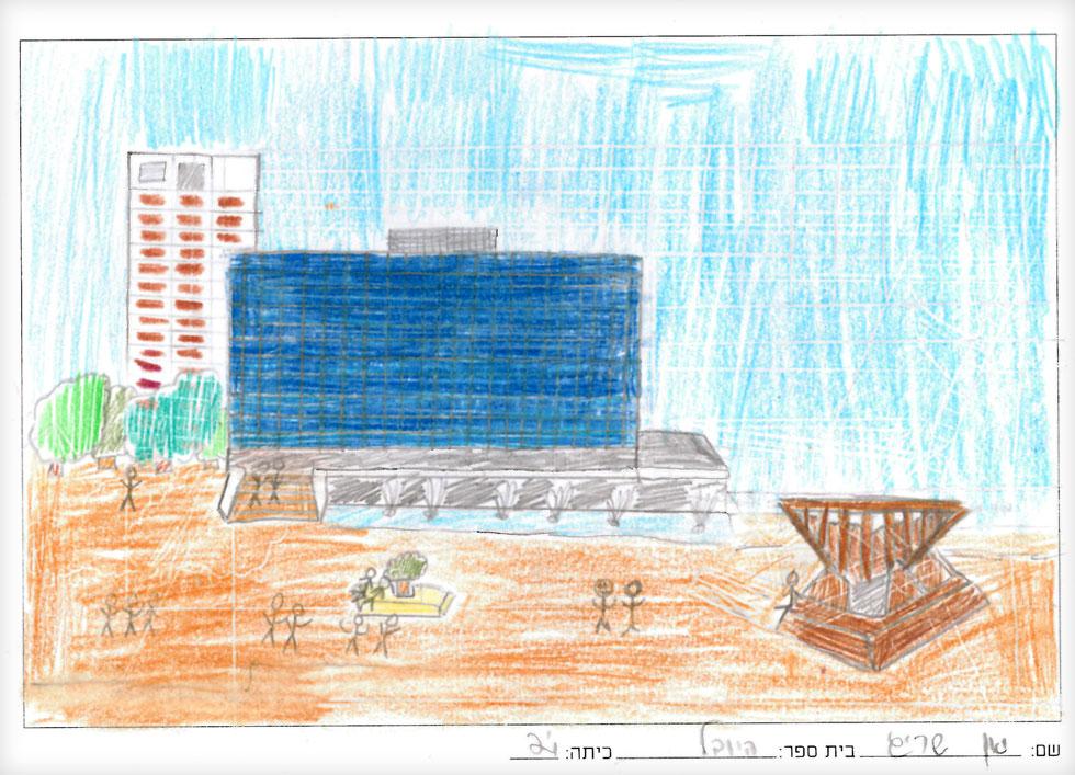 """גם הדור הבא הוזמן להתנסות באיור בשיעור שהועבר בבית הספר, ותוצריו מוצגים בספריית בית אריאלה (איור: """"שבוע האיור"""")"""