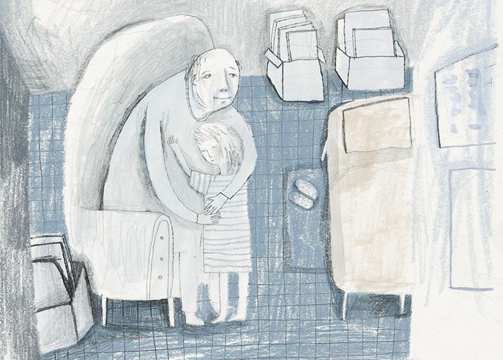 """יאנה בוקלר מציגה בתערוכה ''מפגש משפחתי'' איורים מתוך ספר ילדים שמבוסס על סיפור חייו של סבה (איור: """"שבוע האיור"""")"""