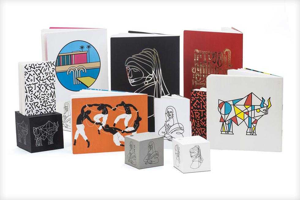 הטיפוגרף והמאייר חן מכבי בפרשנות גרפית רעננה ליצירות אמנות גדולות, שתורגמה גם לסדרה חדשה של מוצרי נייר (צילום: דוריאן קרידו)