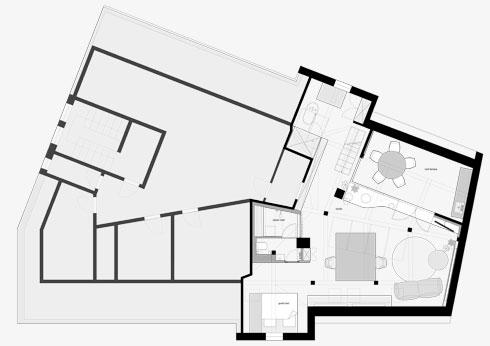תוכנית קומת הגג (תוכנית: Ippolito Fleitz Group)