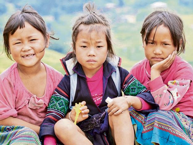 ילדות מקומיות שפגשנו בטרק ב־Sa pa