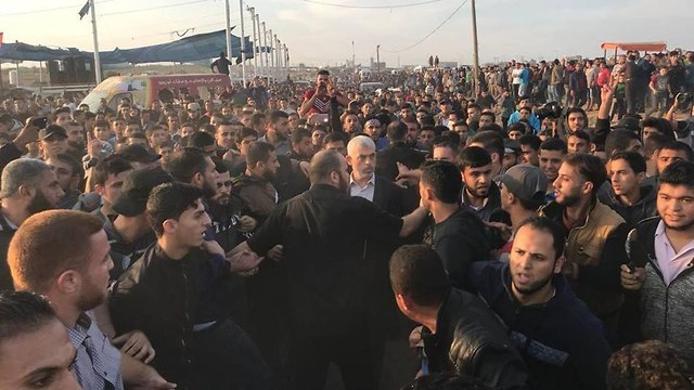 Hamas leader in Gaza Yahya Sinwar at the March of Return protests