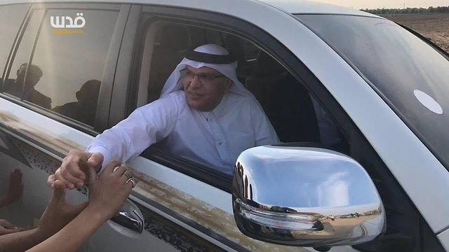 Qatari Ambassador to Gaza Mohammed Al Emadi arriving at the March of Return protest site