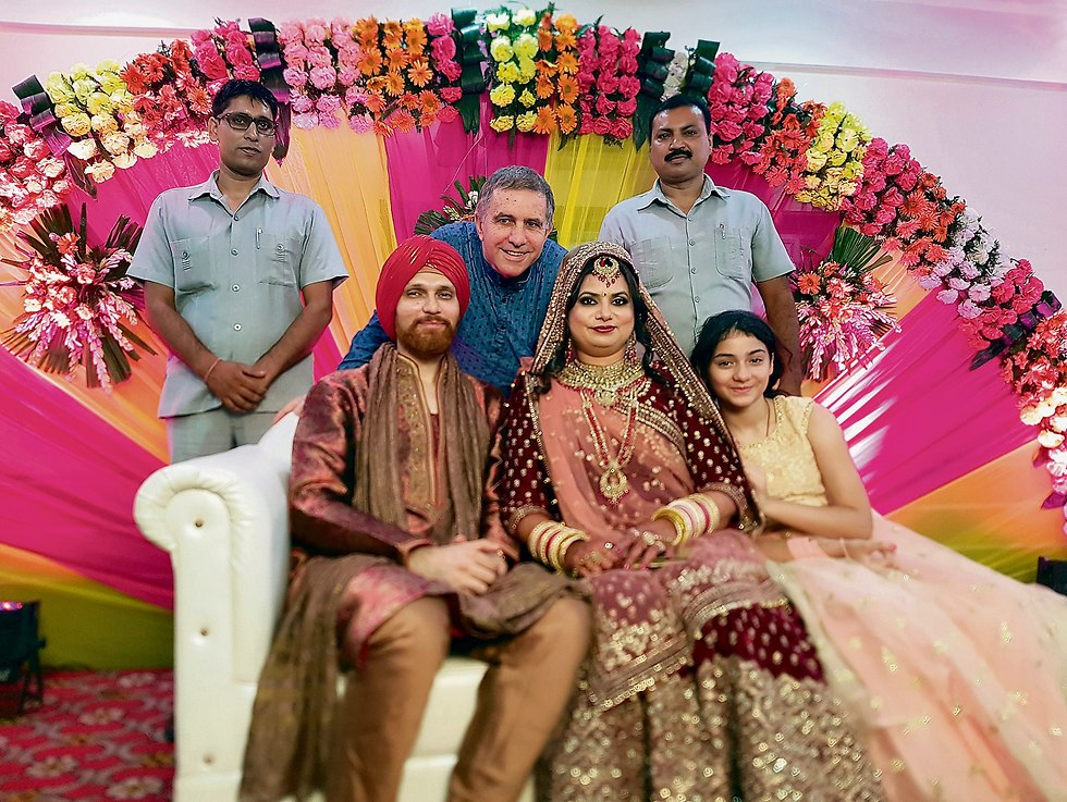 Danny Carmon, in the center, at a Sikh wedding of one of the embassy employees (Photo: Lior Ben-Ami)