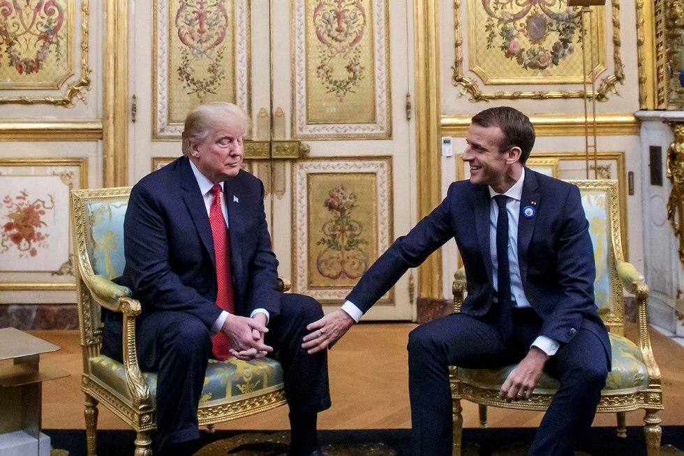 עמנואל מקרון דונלד טראמפ פגישה ארמון האליזה פריז צרפת (צילום: AP)