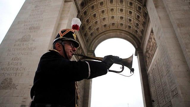 פריז צרפת טקס ציון 100 שנה למלחמת העולם הראשונה (צילום: רויטרס)