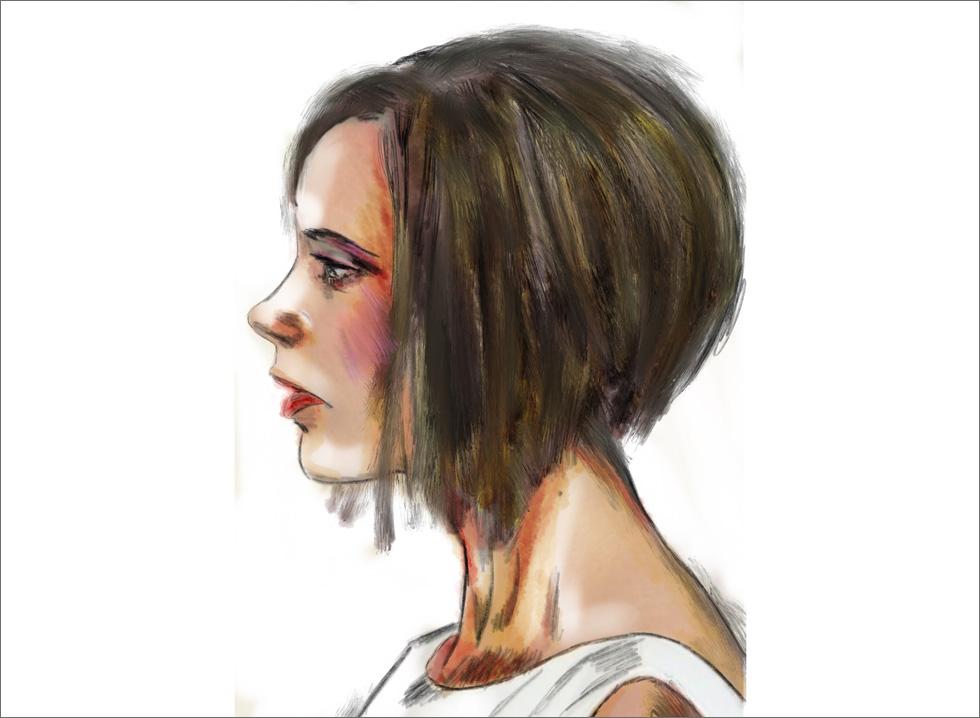 מצליחה תמיד להיראות כמעט כמו בובת שעווה מתוקתקת – מקצה השערה ועד העקבים שנדמה שהולחמו לרגליה. ויקטוריה בקהאם (איור: ארז עמירן)