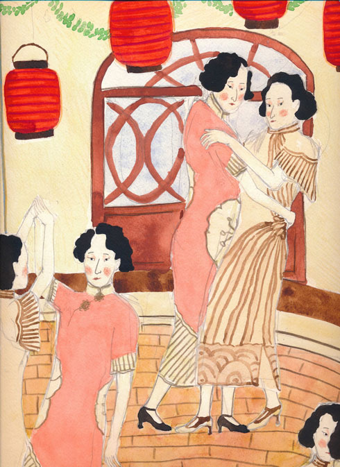 """מתוך הסדרה ''נשות שנגחאי'', שיציג יונתן כץ ב''א לה רמפה'' (איור: """"שבוע האיור"""")"""