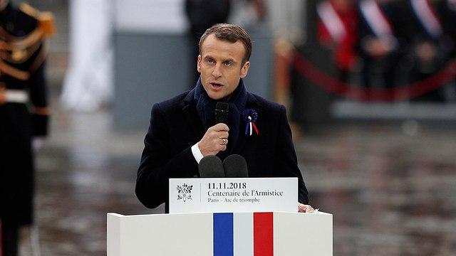 נשיא צרפת עמנואל מקרון טקס 100 שנה מלחמת העולם הראשונה (צילום: AP)