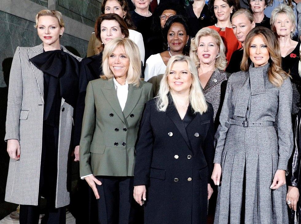שרה נתניהו אשתו של ראש הממשלה, בארוחת צהריים בהנחיית אשתו של נשיא צרפת, הנסיכה שרלין ממונקו בריג'יט מקרון (צילום: רויטרס)