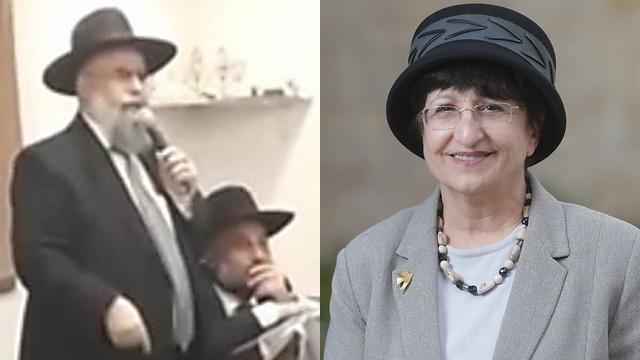 הרב דוד בניזרי, הרבנית עדינה בר שלום (צילום: אלכס קולומויסקי)