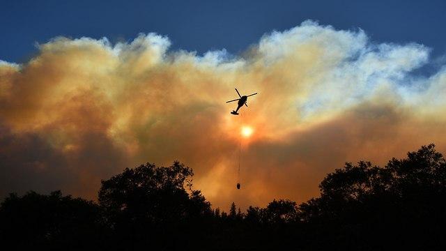 מאמצי הכיבוי (צילום: AFP)