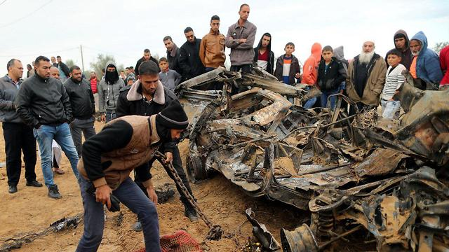 Remains of the vehicle used by the force after it was bombed by the IAF (Photo: Reuters)