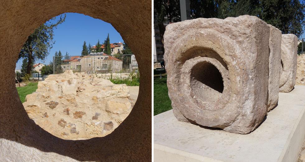 קטע צינור האבן המוצג בגן הוא שיחזור מדויק למקור שנחשף באזור בית לחם, ונותר שמור במחסני רשות העתיקות   (צילום: מיכאל יעקובסון)