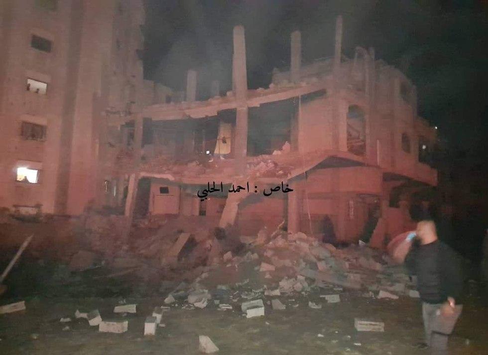 Bombed al-Aqsa TV station in Gaza